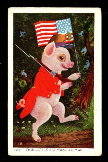 Jimmy Pig postcard Ullman Series #91 Artist Herman Anthropomorphic Patriotic