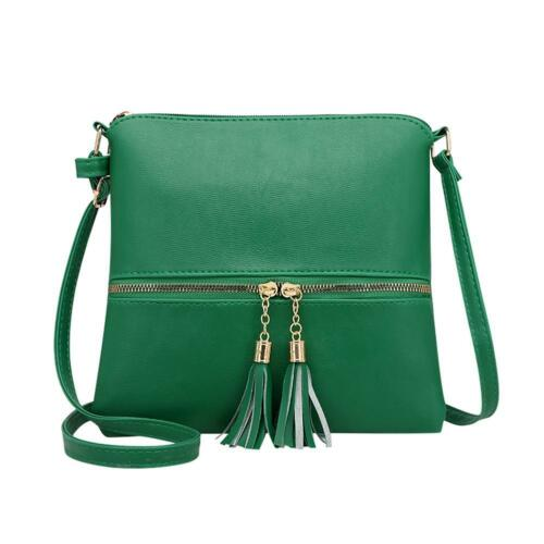 Women Tassel Shoulder Bag Leather Satchel Handbag Messenger Crossbody Bag Purese