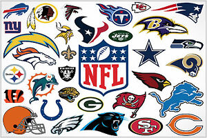 Nfl American Football Team Logos Large Maxi Poster Art Print 91x61