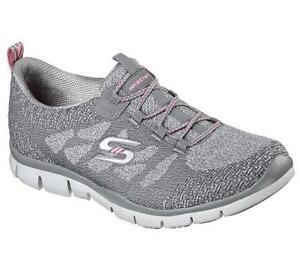 Women's SKECHERS GRATIS SLEEK CHIC 22758 Gray Slip On Walking/Casual Shoes NEW