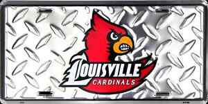 University of Louisville Cardinals Collegiate Chrome Diamond Embossed Metal Novelty License Plate Tag Sign