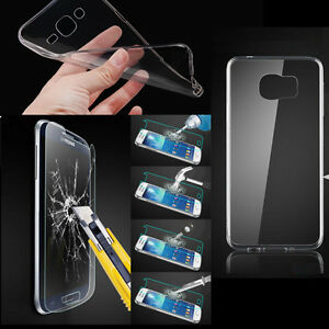 TPU-Soft-Clear-Case-Premium-9H-Tempered-Glass-For-Samsung-Galaxy-Various-Phone