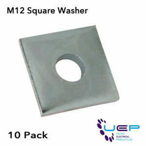 10 x HEAVY DUTY ZINC PLATED M12 SQUARE WASHERS
