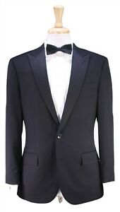 J-CREW-Recent-Ludlow-Solid-Black-2-Btn-Peak-Lapel-Tuxedo-Dinner-Wool-Suit-38S
