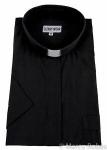1eddc19170 Image is loading Womens-Clergy-Shirt-Short-Sleeves-Tab-Collar-Multiple-