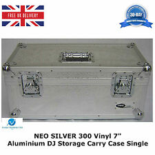 "1 X NEO SILVER Aluminium DJ Storage Carry Case Holds 300 Vinyl 7"" Single Records"