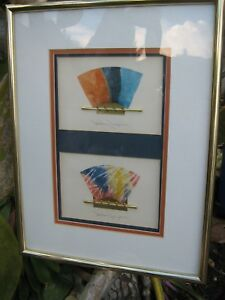 Details about Japanese Paper Artist Signed Metal with Colored Paper Framed  Art Work Matted