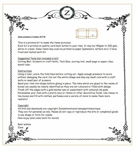 makes 6 boxes FREE UK POST Dolls house printed KIT-Shoe Box No3