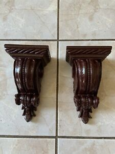 details about drapery curtain rod holders corbel style resin beaded faux wood