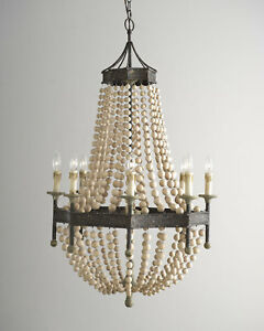 French country scalloped wood bead chandelier regina andrew style 8 image is loading french country scalloped wood bead chandelier regina andrew aloadofball Image collections