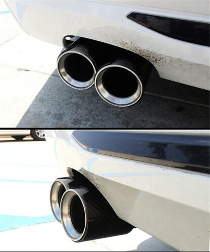 63-81mm Glossy Carbon Fiber Car Exhaust Muffler End Tip Pipe With Logo For BMW
