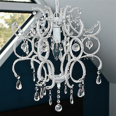 NEW Shabby WHITE PROVINCIAL PRINCESS CRYSTAL CHANDELIER LIGHT Ceiling Cafe Lamp