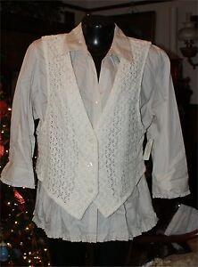 a lavorato Camicetta maglia Set Taglia Nwt Xlarge da gilet con in cotone donna Karen Scott 8qw0qST