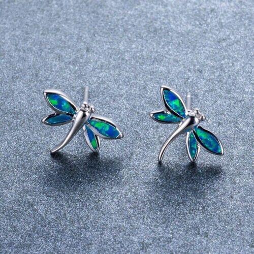 Mignon Libellule White Fire Opal Boucles d/'oreille argent 925 Femmes Mariage Bijoux