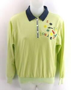 Haut-femme-ELLESSE-Manches-Longues-Polo-Shirt-M-Medium-coton-vert-polyester-Retro-Golf