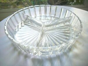 "Full Crystal 7 1/2"" Divided Candy Bowl Nut Bowl Serving Bowl"