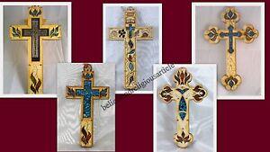 Wooden-Cross-Wall-Hanging-decor-Jesus-Maria-icon-Gemstones-happiness-Love-Joy