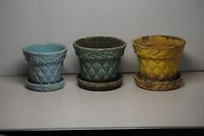 Lots of 3 vintage McCoy quilted pattern planter baskets - yellow blue green