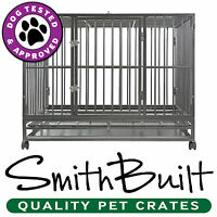 42 Dog Crate Kennel - Heavy Duty Silver Pet Cage Playpen W/ Metal Tray Pan
