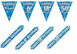 BLUE-HOLOGRAPHIC-FOIL-BANNERS-BUNTING-amp-BADGES-HAPPY-BIRTHDAY-PLUS-AGES-1-80