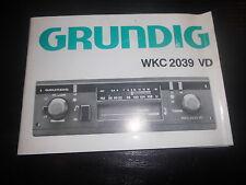 Bedienungsanleitung Autoradio Grundig WKC 2039 VD Hifi UKW Empfang Tuner Einbau