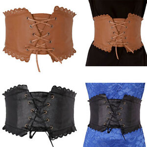 45243a4daa Women Elastic Wide Band Tied Waspie Girl Corset Waist Cincher Belt ...