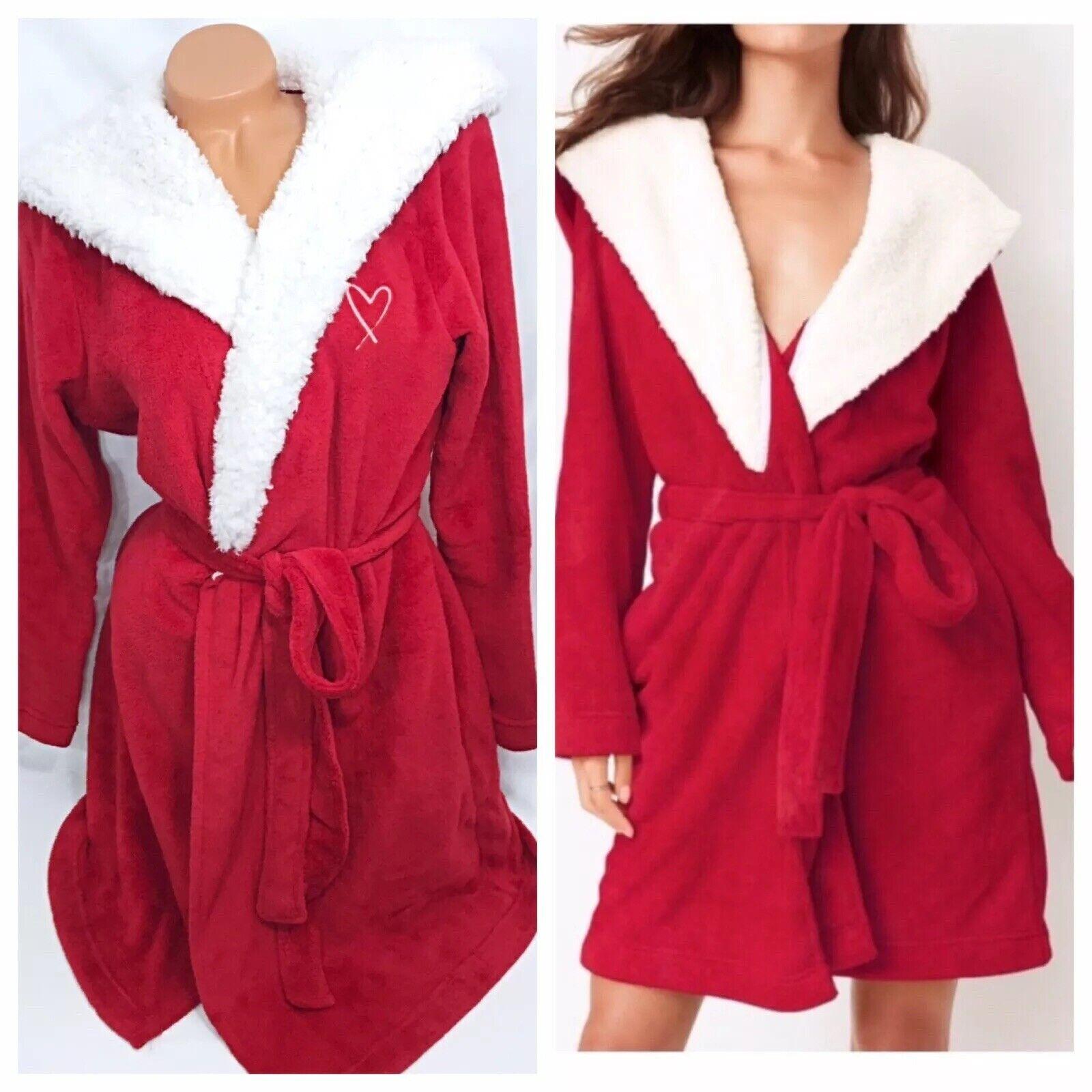 Victoria's Secret RED Bath ROBE +HOOD Cozy Sherpa Fleece HEART Monogram New XS S