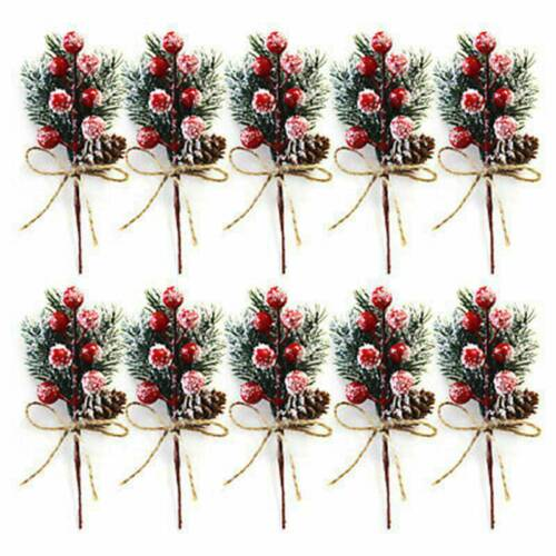Christmas Artificial Pine BranchOrnament Berry Pick 10X Xmas Decor Holly Flower