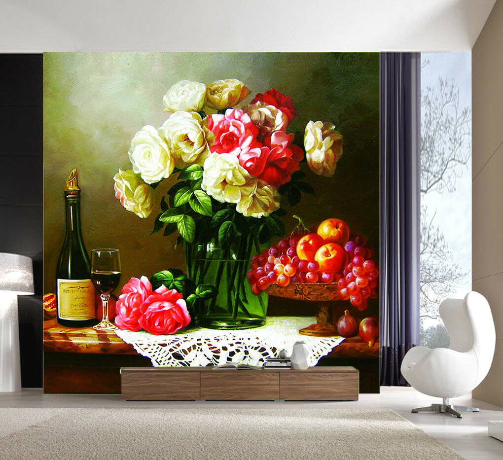 3D rot Wine Fruit Flower 44 Wall Paper Wall Print Decal Wall Deco Indoor Mural
