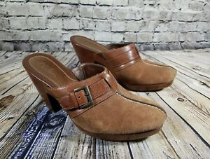 d2d57b1eb3aea Cole Haan Buckle Brown Suede Wedge Clogs Mules Slides Shoes D25451 ...