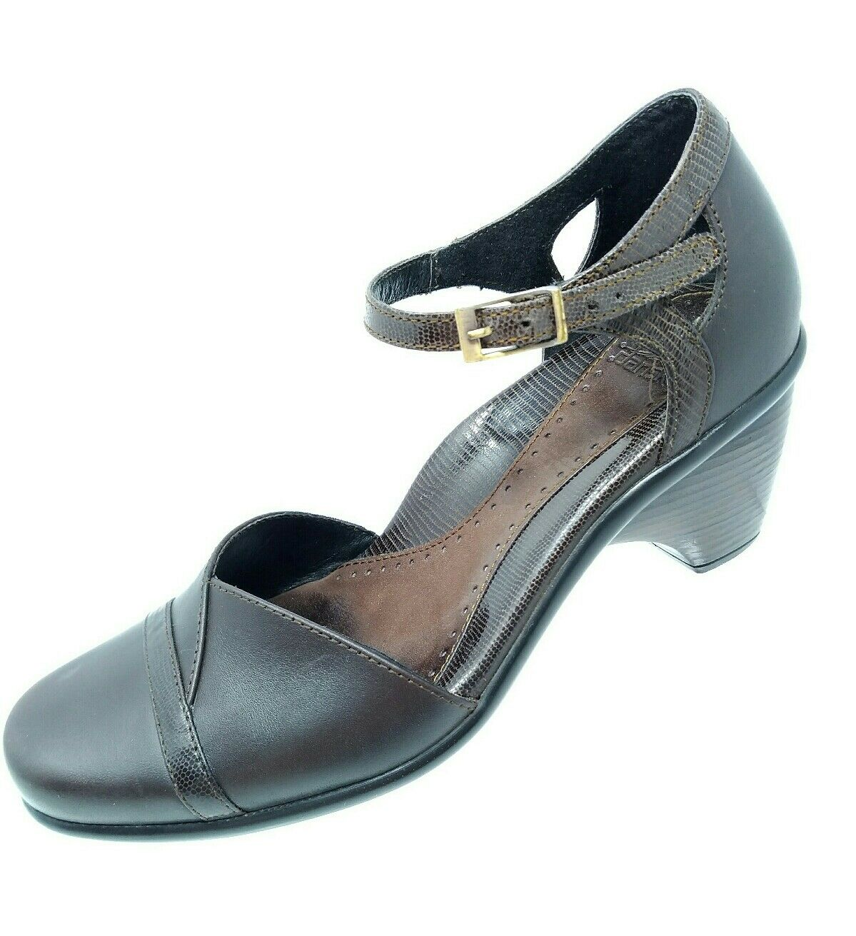 Dansko Womens Heels Size 37 Brown Leather Ankle Strap Block Loafers Shoes Career