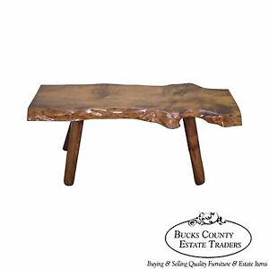 Groovy Details About Rustic Slab Wood Coffee Table Bench Ibusinesslaw Wood Chair Design Ideas Ibusinesslaworg