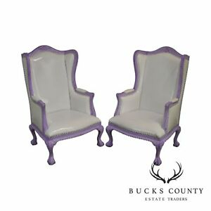 Enjoyable White Purple Pair Rococo Style High Back Wing Chairs Ebay Machost Co Dining Chair Design Ideas Machostcouk