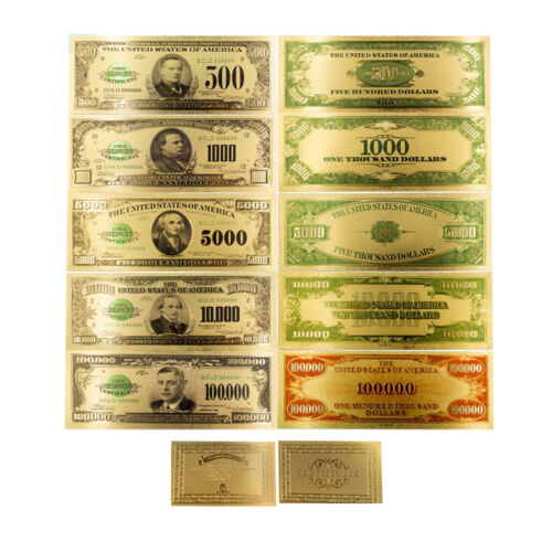 1918 Year Full Set Colorful Gold Banknote US Dollars Set 24k Gold Plated Gifts