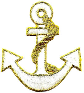 071f6c7f5 Details about Anchor White w/Gold Rope & Outline Nautical ron On  Embroidered Patch
