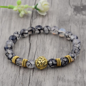Fashion-8MM-Natural-Stone-Gold-Lion-Head-Shim-Energy-Women-Men-Bracelets-Jewelry