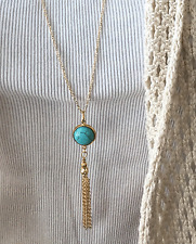 Women's Fashion Jewelry long chain Sweater necklace with turquois tassel pendant