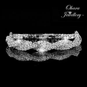 Cubic-Zirconia-CZ-925-Silver-Tennis-Crystal-Bracelet-Bridal-wedding-Jewellery