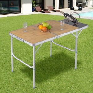 Image Is Loading Portable Aluminum Folding Picnic Camping Backyard BBQ Table