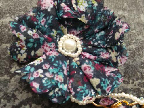 Pack 2 floral hair bandeaux fabric headband hairband elastic band chain bow