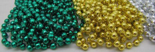 Mardi Gras Beads GREEN//GOLD//SILVER Mix 6 Dozen School Parade Party 72 NECKLACES