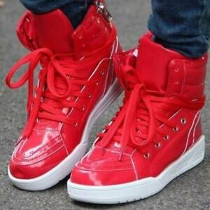 Chic Mens Casual Boys Sneakers Red High Top Lace Up Shiny Flat Shoes ... d9038b9d2a09