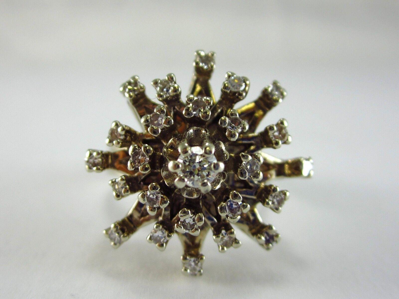 BEAUTIFUL LADIES 14K WHITE gold DIAMOND CLUSTER RING 9.9G 0.84CT SZ 8.25