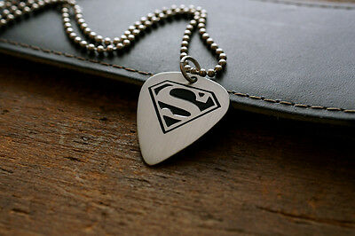 Hand Made Etched Nickel Silver Guitar Pick Necklace - Superman
