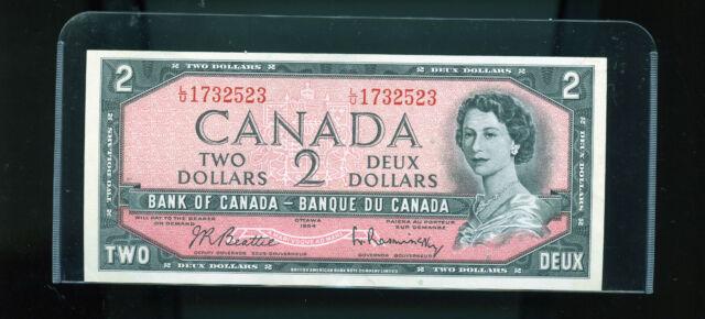 1954 Bank of Canada $2 Beattie Rasminsky AU Wl17