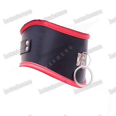 Faux Leather Black Red neck collar posture neckcollar Corset Restraints bondage