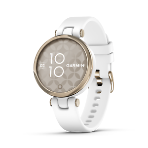 Garmin Lily Women's Sport Fitness Smartwatch Cream Gold w/ White Silicone Band