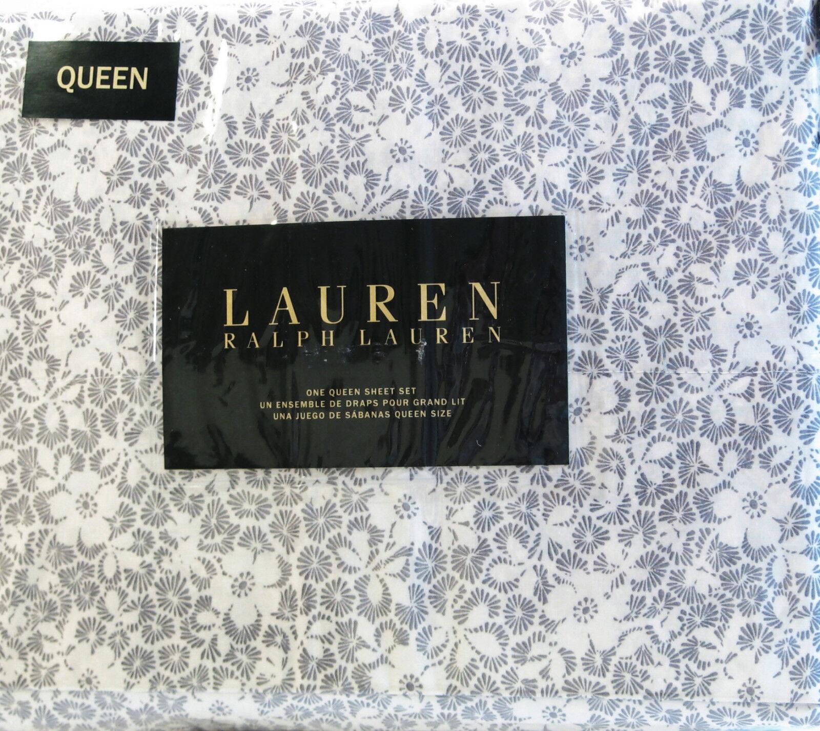Ralph Lauren 4 PC Cotton Sheet Set Floral Charcoal grau Ivory Königin - NEW