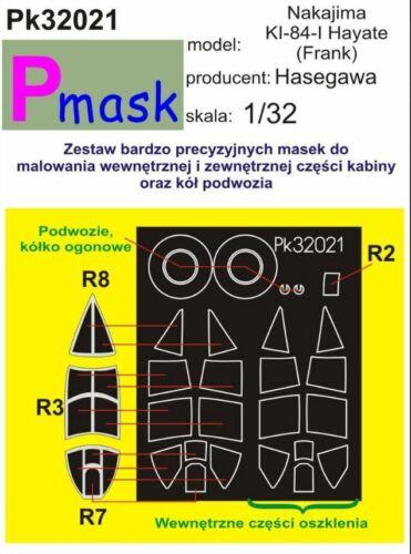 NAKAJIMA Ki-84 HAYATE CANOPY PAINTING MASK TO HASEGAWA KIT #32021 1//32 PMASK