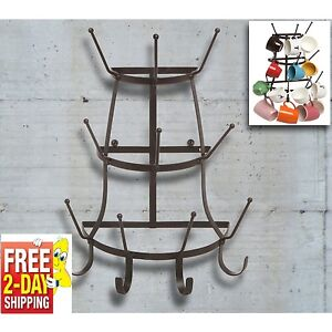 Details About Wall Mount Mug Rack Holder Coffee Cup Hook Hanger Kitchen Storage Dining Decor